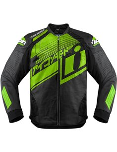 CHAQUETA MOTO ICON PIEL HYPERSPORT PRIME HERO VERDE