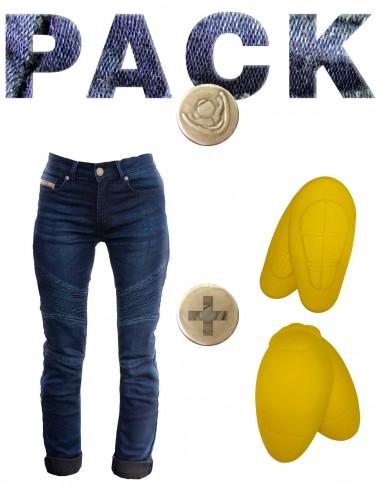 Pack De Pantalon De Moto Mujer Tejano Kevlar Concept Con Protecciones De Caderas Y Rodillas Nivel